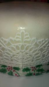 This cake took ! and a bit lengths of lace so there are joins